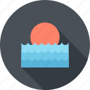 sea, summer, sun, sunrise, sunset, travel, water icon