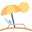 beach, relax, summer, sun, sunbed, umbrella, vacation icon
