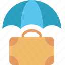 coverage, insurance, protection, security, suitcase, travel, umbrella icon