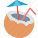 vacation, coconut, holiday, straw, summer, travel, umbrella