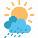 climate, cloud, cloudy, forecast, rain, sun, weather icon