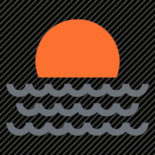 sea, summer, sun, sunrise, sunset, travel, water icon