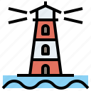 buildings, guide, lighthouse, navigation, orientation icon