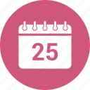 25 december, calendar, date, event, schedule icon