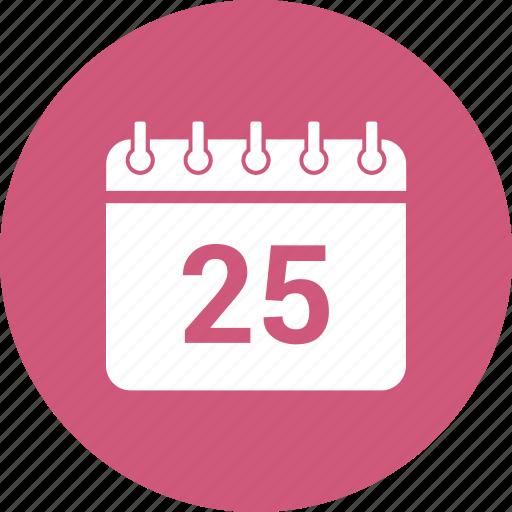 25 december, calendar, date, event, schedule icon