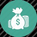 coin, dollar, finance, money, sack
