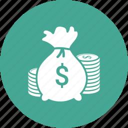 coin, dollar, finance, money, sack icon