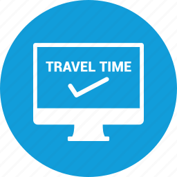 checkin, computer, screen, travel icon