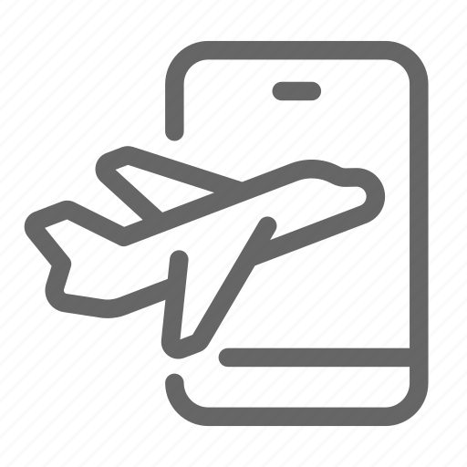 booking, mobile, plane, smartphone, transportation, travel, vacation icon
