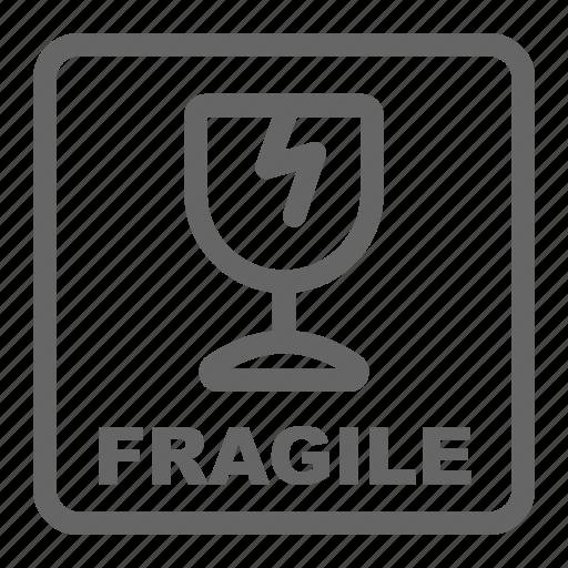 broken, fragile, sticker, travel icon