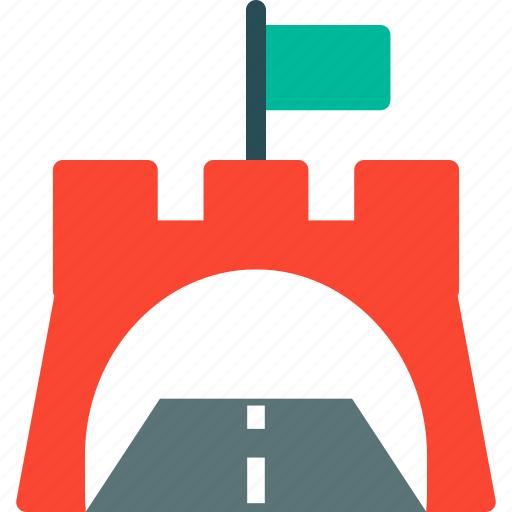 flag on tunnel, location, path, pathway, road, tunnel, way icon