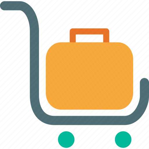 baggage, cart, commerce, luggage, trolly icon