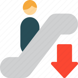 down, escalator, go down, steps icon