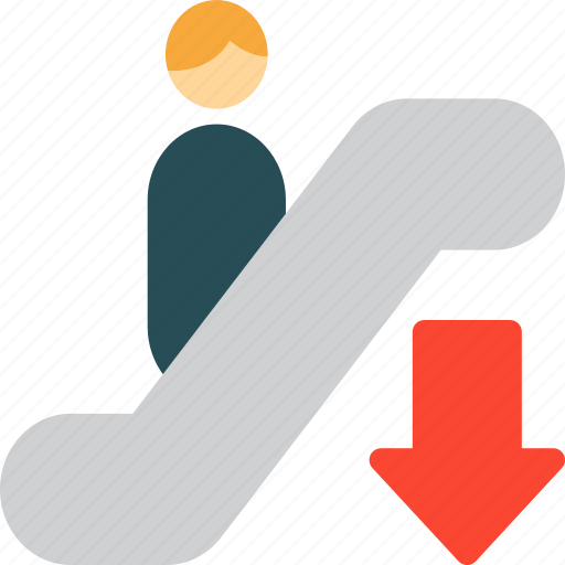 Escalator, go down, down, steps icon - Download on Iconfinder