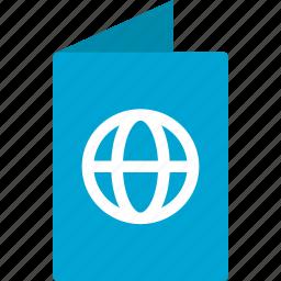 document, document holder, folder, identification, passport, tourism icon