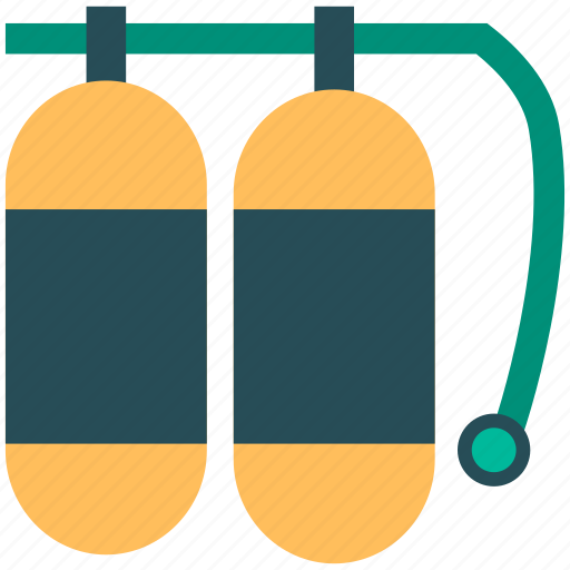 cylinder, oxygen cylinder, swimming kit, swimming oxygen cylinder icon