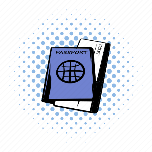 comics, journey, pass, passport, ticket, tourism, travel icon
