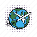 air, airplane, earth, globe, plane, travel, world icon