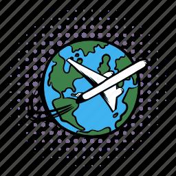 air, airplane, earth, globe, plane, travel, world icon