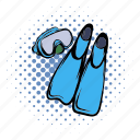 comics, equipment, flipper, scuba, sport, summer, water icon