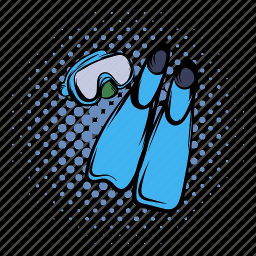 comics, equipment, flipper, scuba, sport, summer, water icon