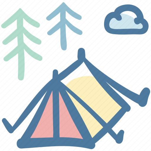 camping, outdoor, tent, travel icon