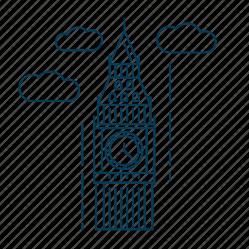 big ben, kingdom, london, uk, united icon