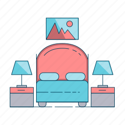 bed, furniture, hotel, room icon