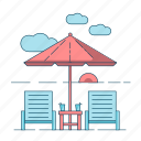 beach, summer, umbrella, vacation icon