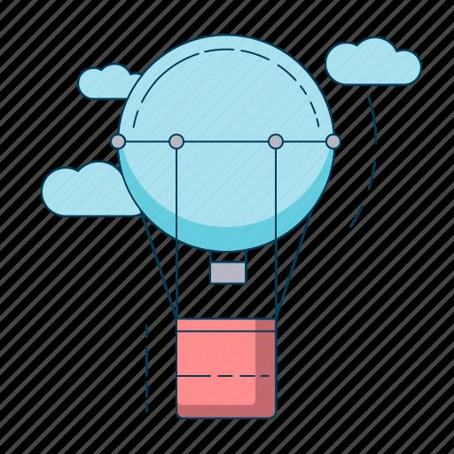 flight, hot air balloon, travel icon