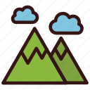 landscape, mountain, nature, travel, vacation icon