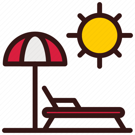 Beach, holiday, sunbed, travel, umbrella, vacation icon - Download on Iconfinder