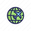 around the world, globe, holiday, plane, world, world tour icon