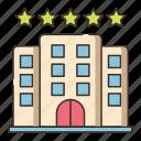 5 stars hotel, hotel, luxury hotel, resort, stars icon