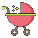 baby, baby stroller, stroller icon