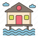 beach, beach villa, hut, resort, villa, water villa