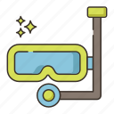 diving, diving gear, diving goggles, diving mask, gear, mask icon