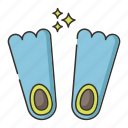 diving, diving fins, fins, scuba diving icon