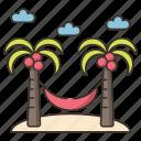 beach, hammock, holiday, relaxation, vacation