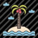 beach, coconut tree, deserted, deserted island, holiday, island, vacation