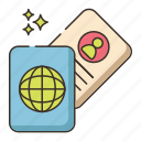 boarding pass, identification, passport, visa icon