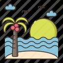 beach, beachy, coconut tree, sand, sandy, sunset