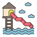 park, theme park, water park, water slide icon