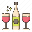 red wine, wine, wine glasses icon
