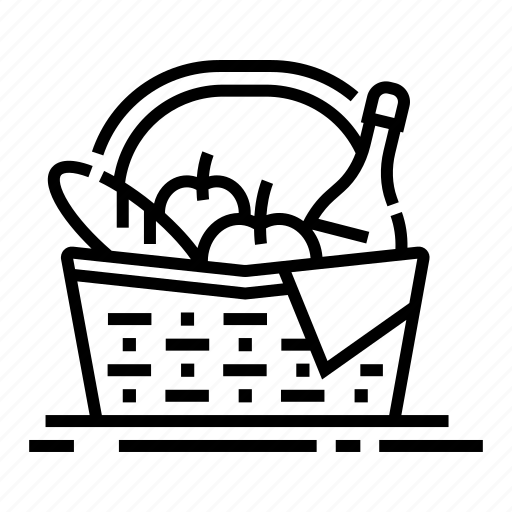 bottle, bread, food, leisure, meal, picnic basket, vacation icon