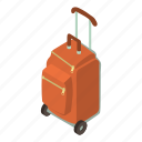 bag, baggage, isometric, luggage, object, suitcase, wheel