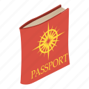 business, citizen, citizenship, document, isometric, object, passport icon