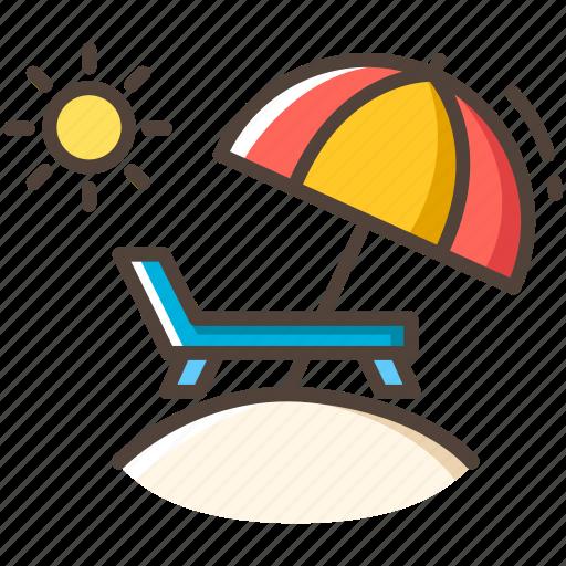 beach, chair, summer, sunny, travel, umbrella, vacation icon