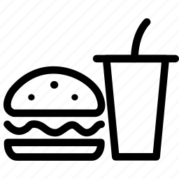 burger, burger and cola, carbonated beverage, coke, fast food, fizzy drink, lolly water, mineral, pop, seltzer, soda, soda pop, soft drink icon