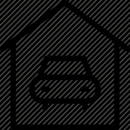 car in garage, carport, garage, parking lot, parking space icon